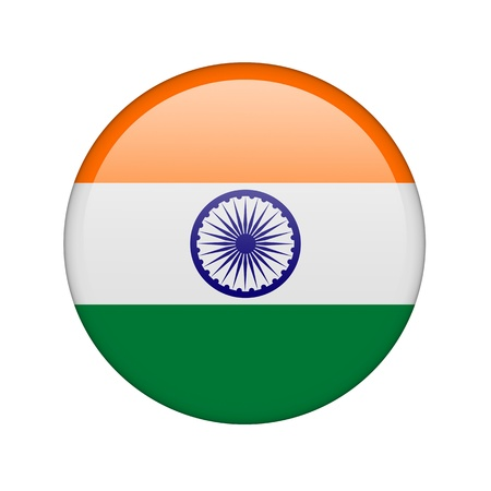 The Indian flag in the form of a glossy icon. photo