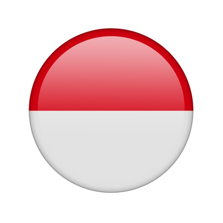 the indonesian flag: The Indonesian flag in the form of a glossy icon. Stock Photo