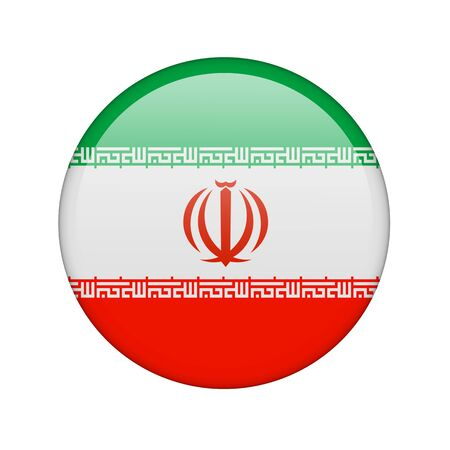 iranian: The Iranian flag in the form of a glossy icon. Stock Photo