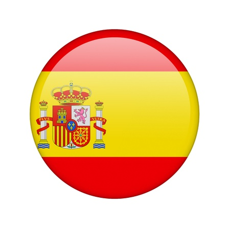 The Spanish flag in the form of a glossy icon. photo