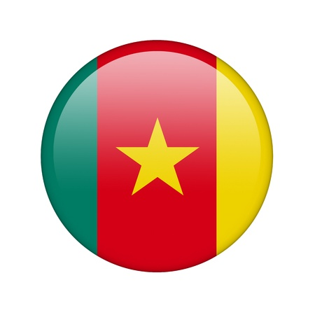 cameroonian: The Cameroonian flag in the form of a glossy icon. Stock Photo