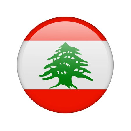 The Lebanese flag in the form of a glossy icon. photo