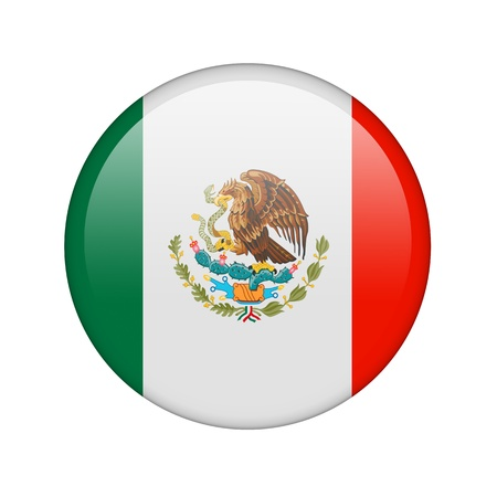 The Mexican flag in the form of a glossy icon. Stock Photo