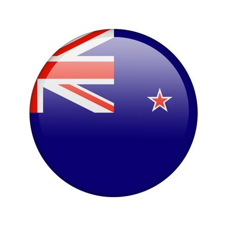 bandera de nueva zelanda: La bandera de Nueva Zelanda en la forma de un icono brillante.