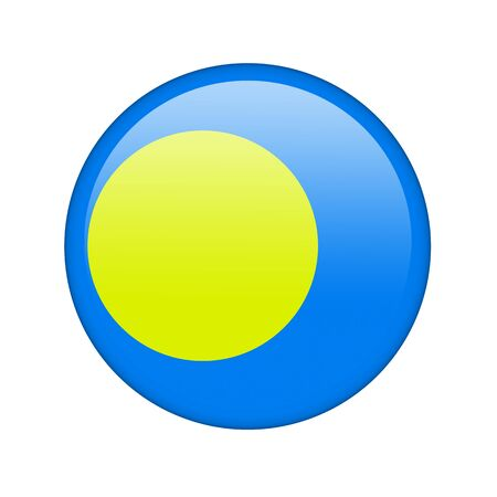 The Palau flag in the form of a glossy icon. Stock Photo - 16760691