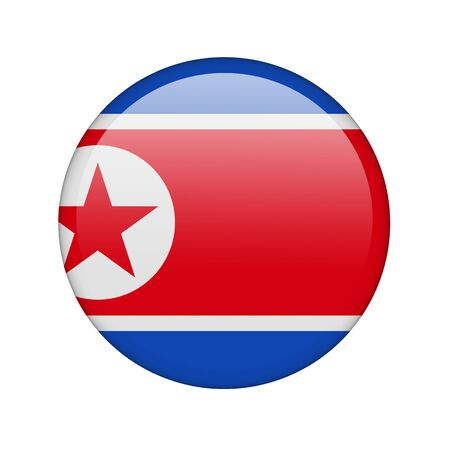 The North Korea flag in the form of a glossy icon. photo
