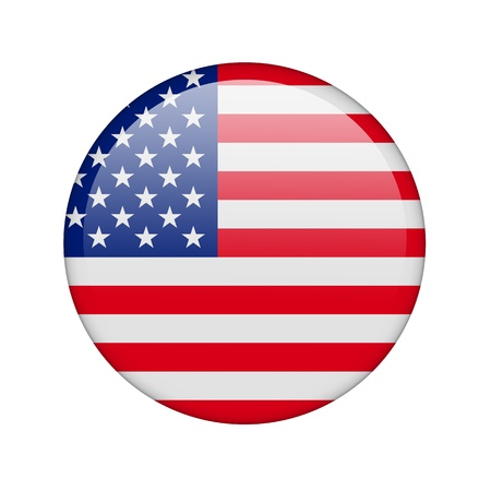 continente americano: La bandera de EE.UU. en la forma de un icono brillante. Foto de archivo