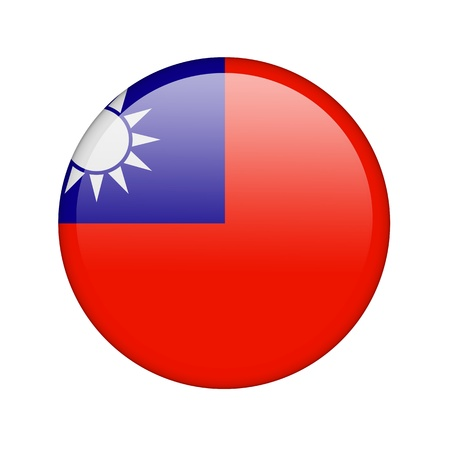 The Taiwan flag in the form of a glossy icon. photo