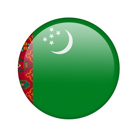 turkmenistan: The Turkmen flag in the form of a glossy icon. Stock Photo