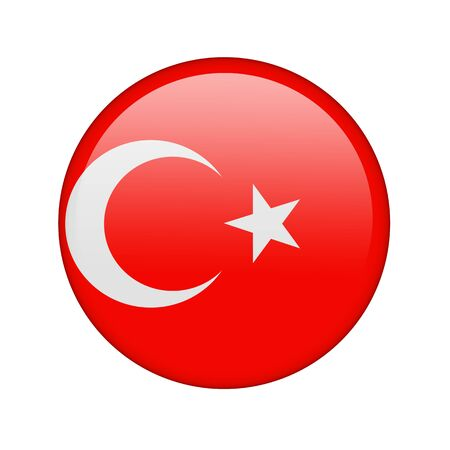 The Turkish flag in the form of a glossy icon. Stock Photo - 16760689