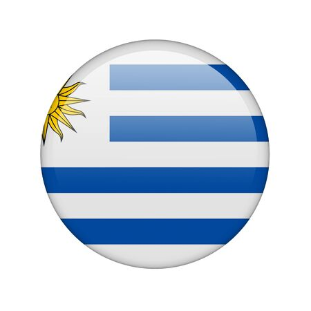 The Uruguayan flag in the form of a glossy icon. photo