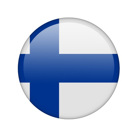 The Finnish flag in the form of a glossy icon. Stock Photo - 16760684