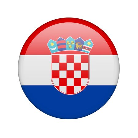 The Croatian flag in the form of a glossy icon. photo
