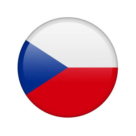 La bandera checa en la forma de un icono brillante. Foto de archivo - 16760644