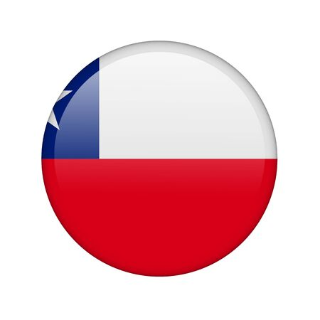 The Chile flag in the form of a glossy icon. photo