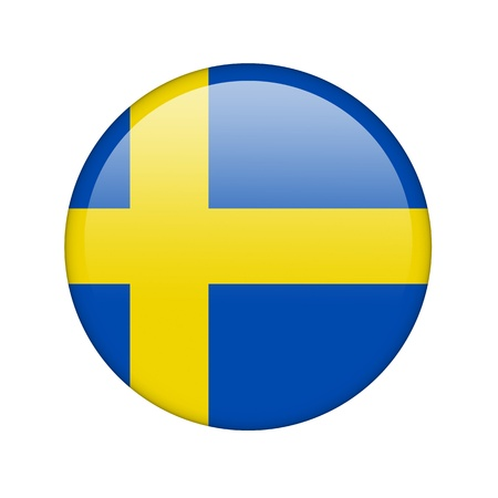 sweden flag: The Swedish flag in the form of a glossy icon. Stock Photo