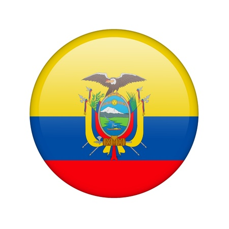 vote button: The Ecuador flag in the form of a glossy icon. Stock Photo