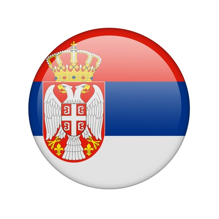 The Serbian flag in the form of a glossy icon. photo