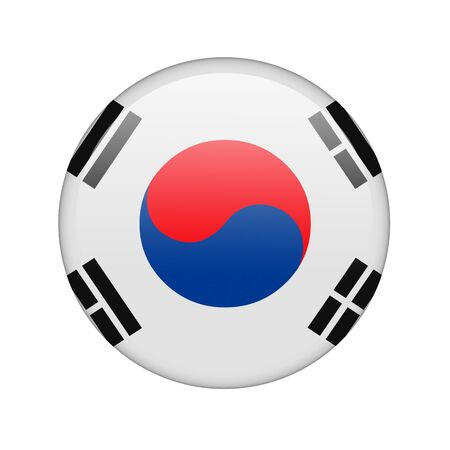 The South Korea flag in the form of a glossy icon. photo