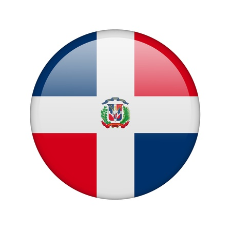 The Dominican Republic flag in the form of a glossy icon. photo
