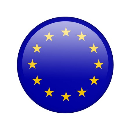 vote button: The European Union Flag in the form of a glossy icon. Stock Photo