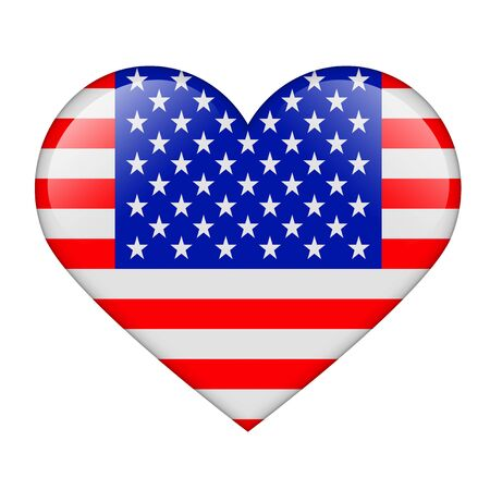 The USA flag in the form of a glossy heart Stock Photo - 17476725