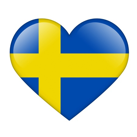 swedish: The Swedish flag in the form of a glossy heart