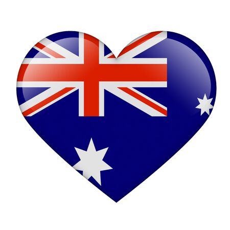 The Australian flag in the form of a glossy heart photo