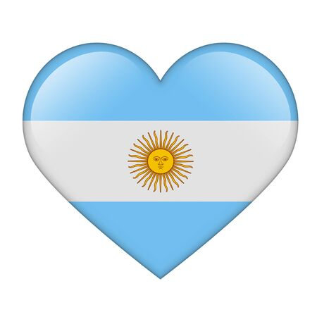 The Argentine flag in the form of a glossy heart photo