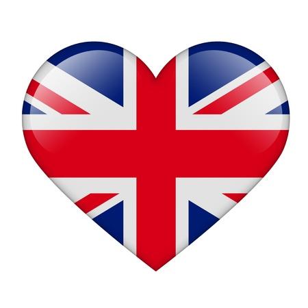 drapeau angleterre: Le drapeau britannique sous la forme d'un coeur brillant Banque d'images