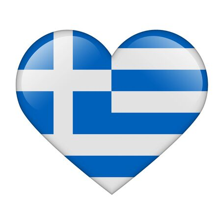 The Greek flag in the form of a glossy heart Stock Photo - 17476737
