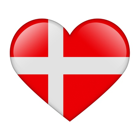 The Danish flag in the form of a glossy heart photo