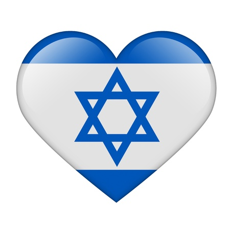 The Israeli flag in the form of a glossy heart Stock Photo - 17476743