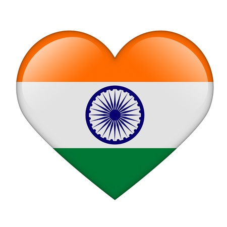 The Indian flag in the form of a glossy heart Stock Photo - 17476733
