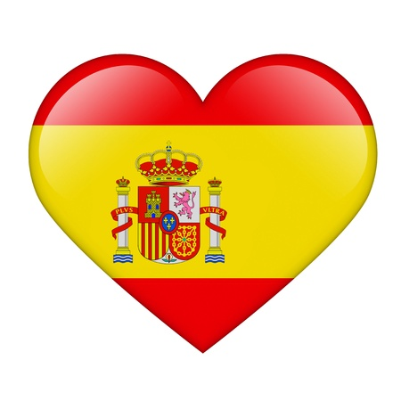 The Spanish flag in the form of a glossy heart photo