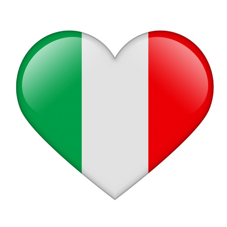 The Italian flag in the form of a glossy heart Stock Photo - 17476746