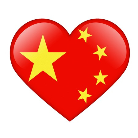 chinese flag: The Chinese flag in the form of a glossy heart Stock Photo