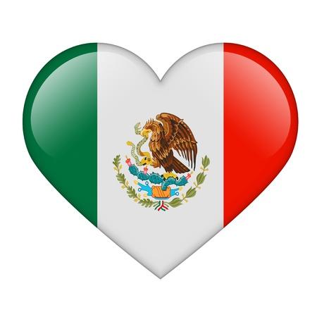 drapeau mexicain: Le drapeau du Mexique sous la forme d'un coeur brillant Banque d'images