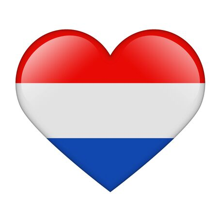 The Netherlands flag in the form of a glossy heart Stock Photo - 17476748