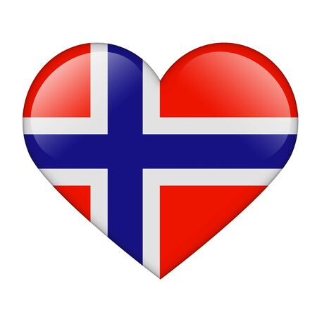 norwegian flag: The Norwegian flag in the form of a glossy heart