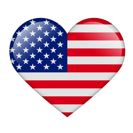 The USA flag in the form of a glossy heart photo