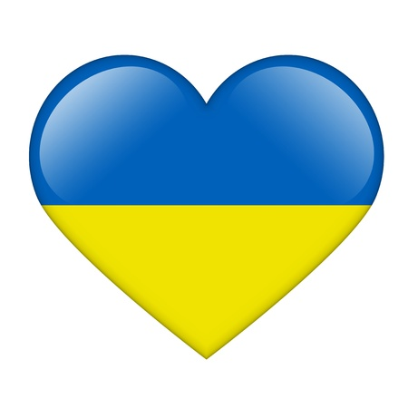 The Ukrainian flag in the form of a glossy heart photo
