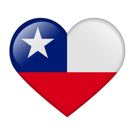 shiny hearts: The Chile flag in the form of a glossy heart