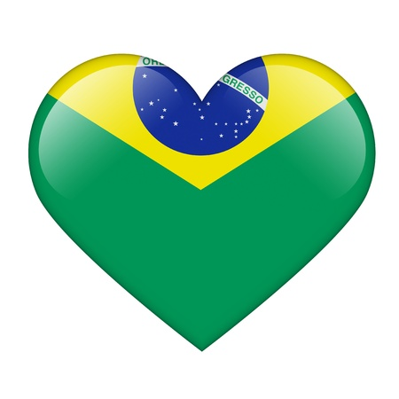 The Brazilian flag in the form of a glossy heart Stock Photo - 17476747