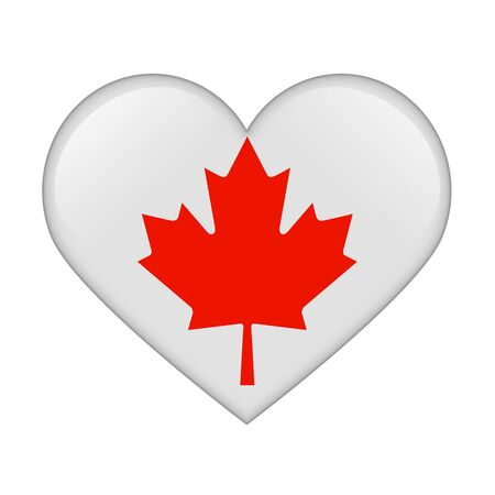 The Canadian flag in the form of a glossy heart photo