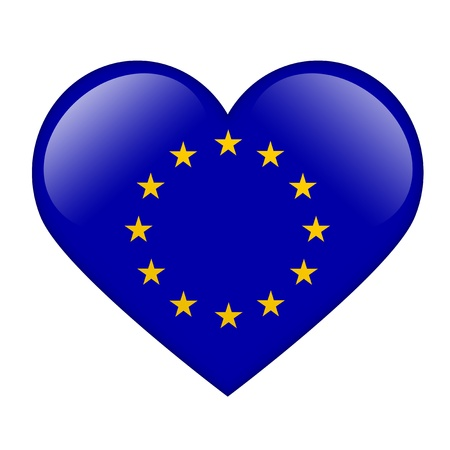 The European Union Flag in the form of a glossy heart in the form of a glossy heart photo