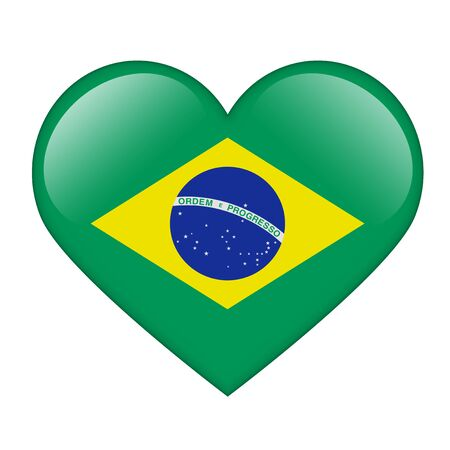 The Brazilian flag in the form of a glossy heart Stock Photo - 17476762