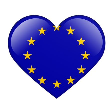 The European Union Flag in the form of a glossy heart Stock Photo - 17476759