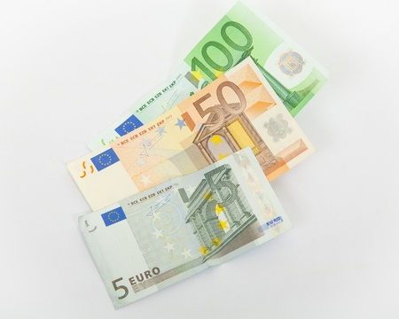 Euro banknotes on white background photo