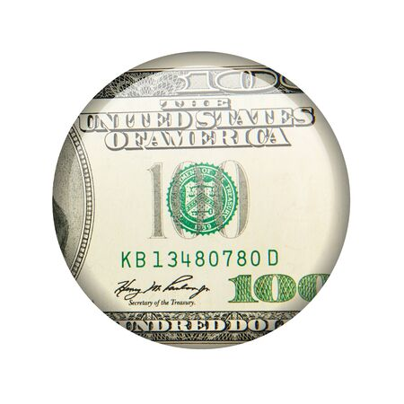 Glossy icon in the style of one hundred dollars Stock Photo - 18243299